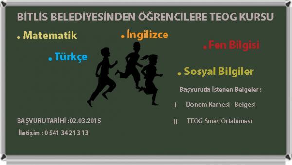Bitlis Belediyesi ve Eğitim Sen İşbirliğiyle TEOG Kursu Verilecek