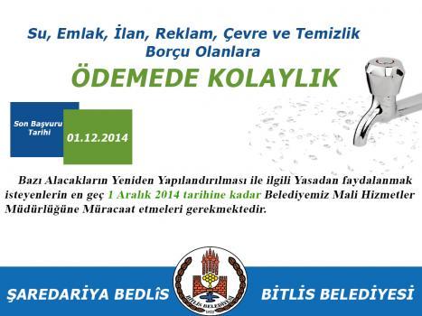 Bitlis Belediyesi'nden Borcu Olanlara Yapılandırma Çağrısı