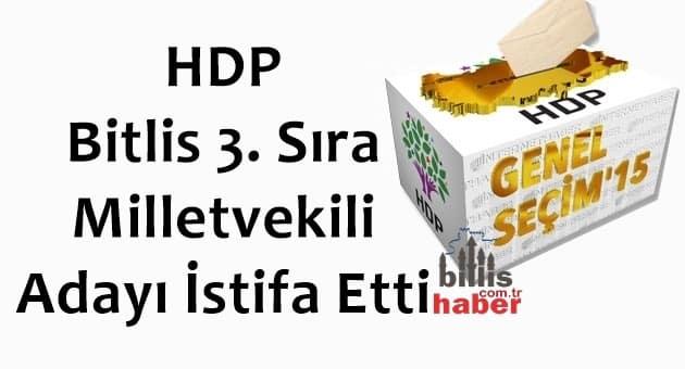 HDP Bitlis 3. Sıra Milletvekili Adayı İstifa Etti