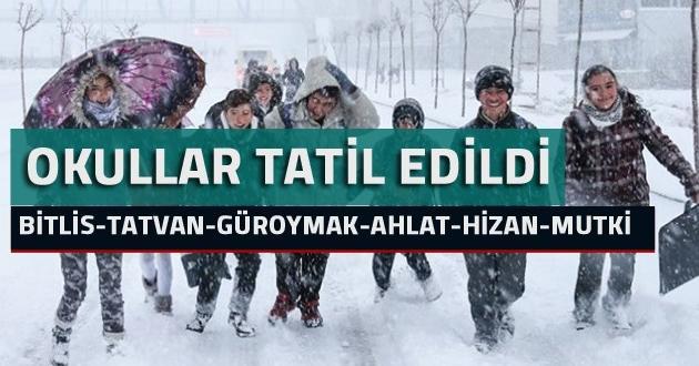 Bitlis ve ilçelerinde Okullar 1 gün daha tatil edildi