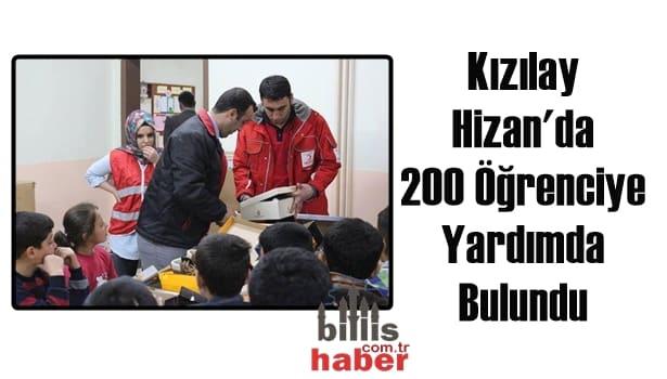 Kızılay Hizan'da 200 Öğrenciye Yardımda Bulundu