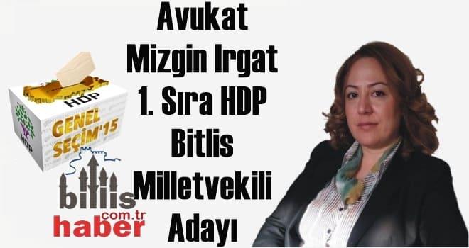 Mizgin Irgat 1. Sıra HDP Bitlis Milletvekili Adayı