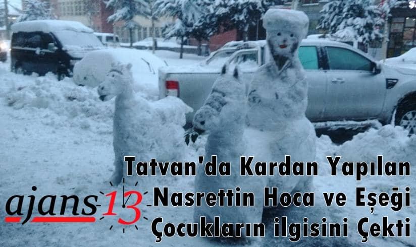 Tatvan'da kardan Nasrettin Hoca ve eşeği çocukların ilgisini çekti