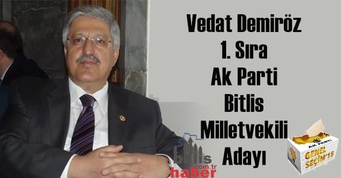 Vedat Demiröz 1. Sıra Ak Parti Bitlis Milletvekili Adayı