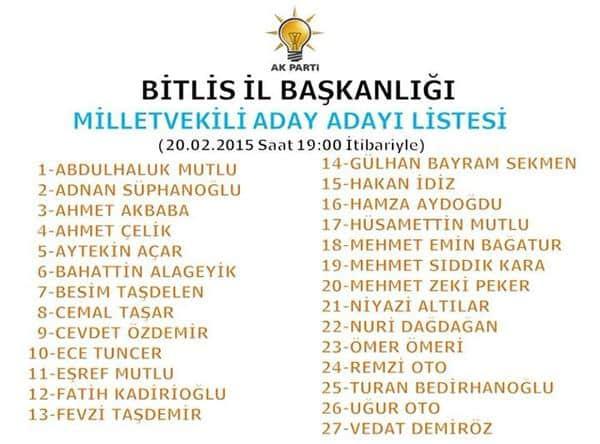 Bitlis AK Parti Milletvekili Aday Adayları Listesi